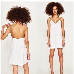 ZARA white dress with rainbow 🌈 straps